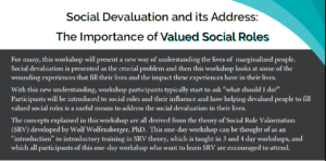 One Day SRV - The Importance of Valued Social Roles @ The Gathering Place   Oshawa   Ontario   Canada